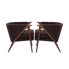 Pair of Sculptural Danish Modern Lounge Chairs, 1950s