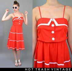 Red Retro Pinup Sailor Dress by HotTrashVintage on Etsy, $50.00