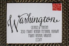 "Calligraphy Envelope Custom Addressing ""Washington Style"" Handwritten on Etsy… Hand Lettering Envelopes, Calligraphy Envelope, Hand Lettering Fonts, Envelope Art, Envelope Design, Creative Lettering, Addressing Envelopes, Calligraphy Letters, Typography Letters"