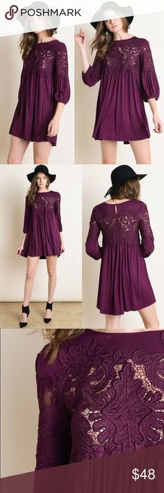 """New Arrival Color Me Plum Dress New Arrival  Retail NWT Color Me Plum Dress Self: 95% Rayon, 5% Nyron Contrast: 100% Polyester   Measurements Small - Chest:17"""" across / 34"""" around, Length:32"""", Sleeve Length:19"""" Medium - Chest:18"""" across / 36"""" around, Length:33"""", Sleeve Length:19"""" Large - Chest:19"""" across / 38"""" around, Length:33"""", Sleeve Length:19""""   Bundles = 10% off & FREE Gift ❌ No Trades ❌ Low Ball Offers Blackberry Boutique Dresses Mini"""