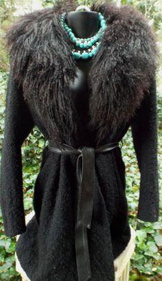 JOHN CARUANA Mongolian Lamb Fur Coat Sz 8 Vintage!
