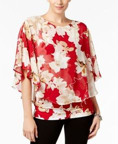 Alfani Petite Printed Popover Top, Created for Macy's - Red P/XL