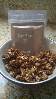 recipe for cacao magic granola SUPER EASY, vegan, gluten-free, superfood & nutrient dense! SO DELISH!