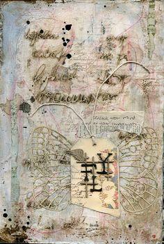 Art journal featuring Scrap FX scribble script stencil, bookpaper butterfly, hidden word fly.  www.scrapfx.com.au