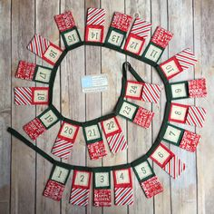 Advent bunting - Advent calendar - Christmas bunting - Crafty Christmas - Handmade Christmas - red and green Advent pockets  - candy stripes by byLittleDaisy on Etsy