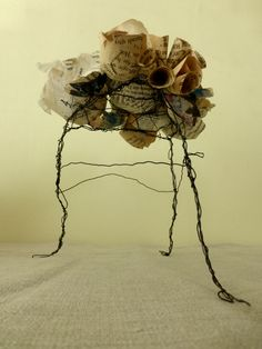 Monument to Small Stories. wire and book pages. Ines Seidel