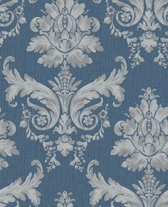 Langley (75560) - Albany Wallpapers - Langley is a bold, striking damask textured wallpaper. This colourway features a silver damask on a denim blue textured background with a horizontal shiny mica slub.