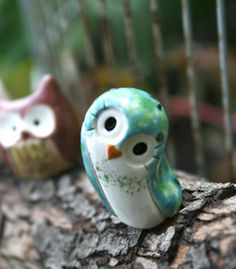 Spout the Green Spotted Clay Owl: Harry Potter Inspired Owlery Miniature