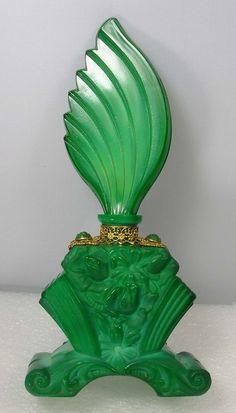 Art Deco Malachite Green Glass Perfume Bottle 1920s