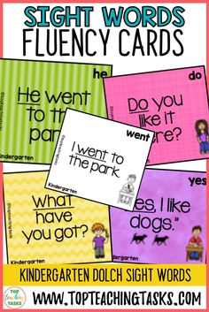 Kindergarten Sight Word Flash Cards Dolch. This resource is a set of 52 Flash Cards based on the Dolch Kindergarten (Primer) High Frequency Sight Words. Use these flash cards as part of your Word Work Daily 5 activities, have the children use these with a partner, or send them home as a home-based task. You could also make two sets and play games such as Memory or Go Fish! Sight word recognition improves reading fluency, and the more mentally demanding task of reading comprehension. Daily 5 Activities, Sight Word Activities, Sight Word Flashcards, Dolch Sight Words, Teaching Materials, Word Work, Reading Comprehension, Kindergarten, Homeschool