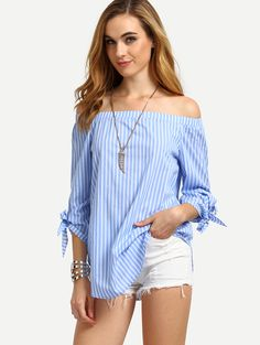 Online shopping for Blue Striped Off The Shoulder Tie Cuff Blouse from a great selection of women's fashion clothing & more at MakeMeChic.COM.