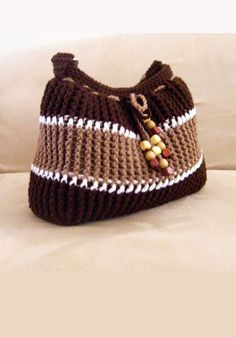 Brown Strong Handmade Cotton Thread Tote with Nylon twine, metal rings, wood beads