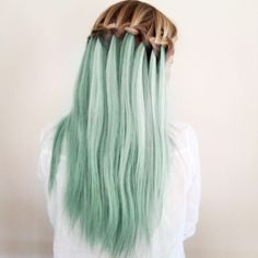 Mint Streamers, Mint Cotton Candy Bombshell. Sweet Sherbert. Loose Knot Braid Hairstyle.