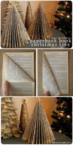 Easy Christmas Craft Tutorial: how to make a christmas tree from a paperback boo. - Easy Christmas Craft Tutorial: how to make a christmas tree from a paperback book - Book Christmas Tree, Christmas Paper Crafts, Christmas Projects, Simple Christmas, Holiday Crafts, Holiday Fun, Christmas Holidays, Christmas Ornaments, Christmas Ideas