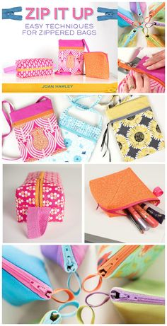 Zip It Up!  Zipper bags video tutorial class on Craftsy.  Afraid of zippers?  You won't be after the fabulous tips in this class.  Fun projects to sew.