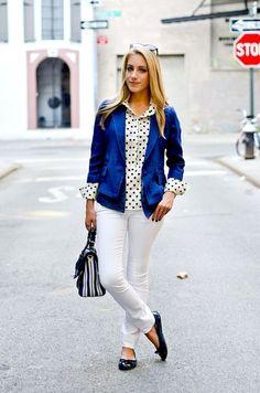 polka dot top + white denim work look