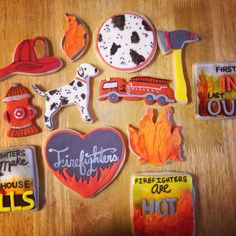 Firefighters cookies celebrating Leander Fire department birthday. By beYOUtiful Sweets