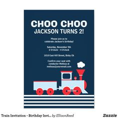 Shop Train Invitation - Birthday Invitation for boys created by EllisonReed. Personalize it with photos & text or purchase as is! Trains Birthday Party, Train Party, 1st Boy Birthday, Boy Birthday Parties, Birthday Ideas, Happy Birthday, Birthday Invitation Message, Kids Birthday Party Invitations, Create Your Own Invitations
