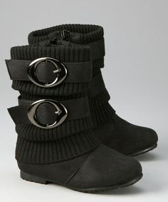 Loving this Black Sweater-Cuff Double-Buckle Boot on #zulily! #zulilyfinds