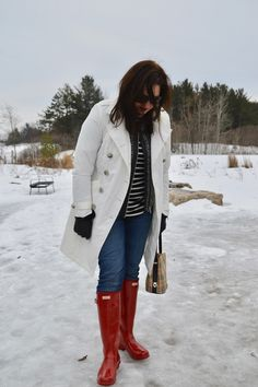 Red Hunter Boots winter fashion