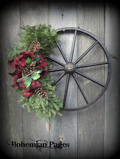 Bohemian Pages Wreath from Antique cart wheel with Silver spoon & Buffalo Plaid ribbon