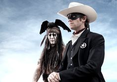 Johnny Depp as Tonto and Armie Hammer as The Lone Ranger in upcoming film remake.