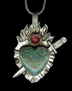 "SWEETBIRD STUDIO NECKLACE  N047 - Turquoise Sword     Turquoise heart and red coral rose set in sterling silver, strung on 18"" snake chain. Pendant approximately 1.75"" x 2.5""  $276"