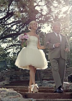 short ballerina-style wedding dress with gold shoes.. Don't love the shoes with the dress. You're a bride not a ballerina. I like :-)  Maybe for the reception