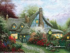 "Sweetheart Cottage [1992] © Thomas Kinkade ""Perhaps my sentimental Irish nature is shining through, but I happen to be enchanted with the idea of a romantic hideaway hidden amidst blossoming flowers. Sweetheart Cottage is a dual tribute to my tenth wedding anniversary and to the most romantic occasion of the year: Valentine's Day."""