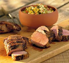 Long Trail Ale-Marinated Pork Tenderloin with Charred Corn-Cheddar Relish and Cabot Cheese. Click for recipe.
