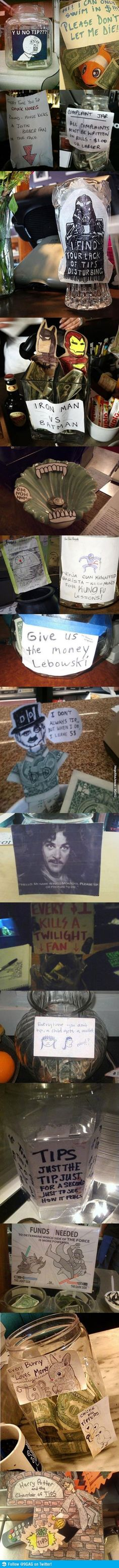 funny and creative tip jars ideas. Some of these are awesome. I love the Batman vrs Iron Man one!