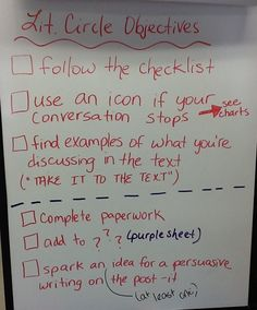 """2.20.13 -- Lit. Circle #2 for Non-Fiction chapter books.  Reviewing objectives was followed up by """"looks like, sounds like"""" T Chart for relating discussion to the text."""