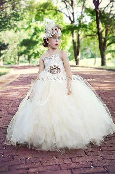 flower girl dress, vintage flower girl tutu dress, custom champagne and ivory lace tutu dress