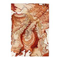 Art print fantasy map burnt orange abstract by tahliaday on Etsy, $20.00