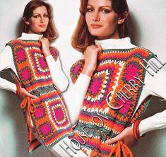 Granny Square Tunic Pattern, PDF crochet pattern, boho style, vintage 70s, hippie clothing, granny square pattern easy, granny square top by HouseonCherryHill on Etsy https://www.etsy.com/listing/240734037/granny-square-tunic-pattern-pdf-crochet