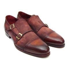 Paul Parkman Men's Captoe Double Monkstrap Antique Brown Suede (ID#045BT11)