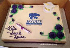 Graduation cake with K-State Edible Image. 5-16-15. This one we put the scroll and cap on.