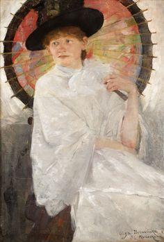 PORTRET MŁODEJ KOBIETY Z CZERWONĄ PARASOLKĄ (1886?) by Olga Boznańska   Impressionism   Oil on canvas   88 x 60 cm   Private collection