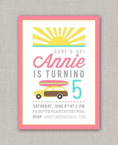 Beach Surfing Girls Birthday Party Invitation Printable File