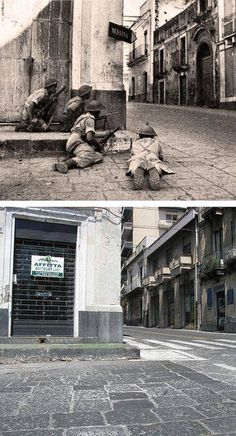 Ghosts of war - Corner covered 1943 Acireale Sicily - Then and Now