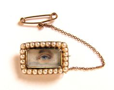 MINIATURE PORTRAIT-Georgian Lovers eye -pearls and gold with initials on reverse #Realism