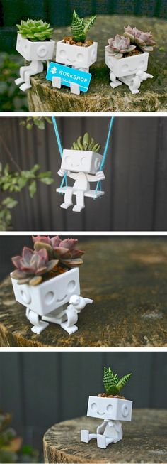 Today, in honour of things you didn't know you needed until now, I present printed robot succulent planters from XYZWorkshop! These little guys are printe 3d Printing Diy, 3d Printing Service, 3d Printer Designs, 3d Printer Projects, Impression 3d, 3d Printed Robot, 3d Printed Stuff, Small Printer, Wall Drawing