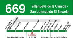 Tabla de horarios y frecuencias de paso en sentido vuelta Línea 669: San Lorenzo de El Escorial - Villanueva de la Cañada