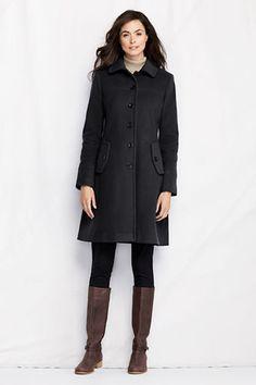 Women's Luxe Wool Swing Car Coat from Lands' End - black.