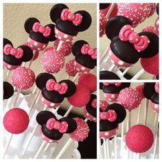 Minnie Mouse inspired cake pops by Kim's Sweet Karma.
