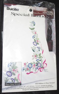 Stamped Pillowcases Embroidery Blue & Violet Bouquet Pillowcase Pair Hand Sew  #Bucilla
