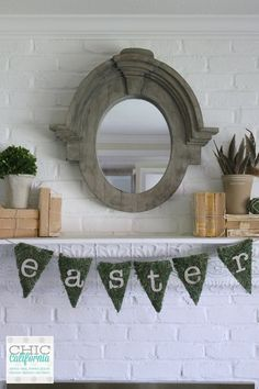 Restoration Hardware Inspired Easter Mantel