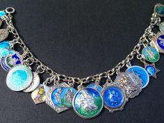 Vintage Charm Bracelet Collection - Blue St. Christopher Medals Silver & Enamel Charm Bracelet