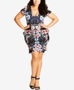 25cd8f412b9 City Chic Plus Size Zip-Front Floral-Print Tunic Dress $66.99 Rock a bold