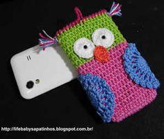 Capa Celular Coruja    PAP: http://artesanatobrasil.net/capa-coruja-em-croche-para-iphone/#
